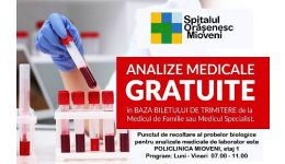 Read more: IMPORTANT! Analize și investigații medicale de laborator gratuite, la Mioveni!
